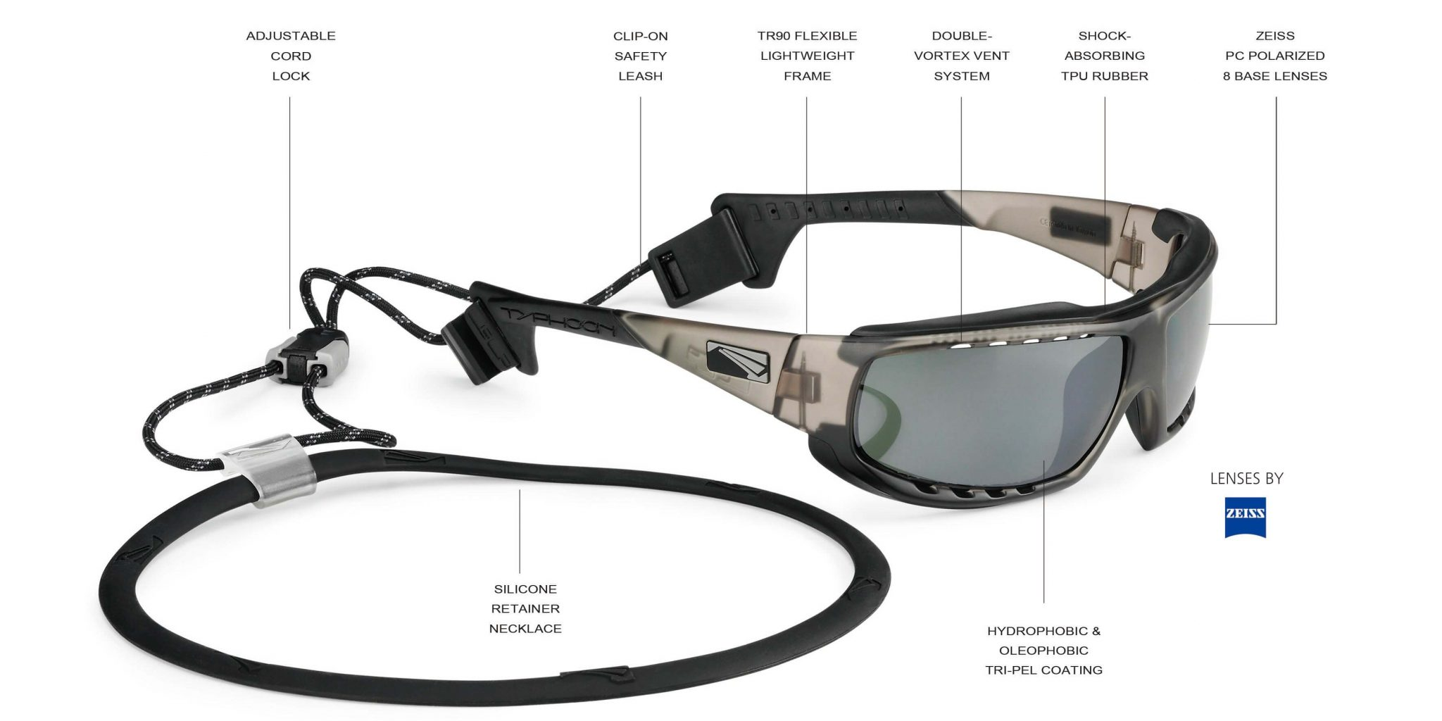 LiP Sunglasses Watershades with clip-on safety leash
